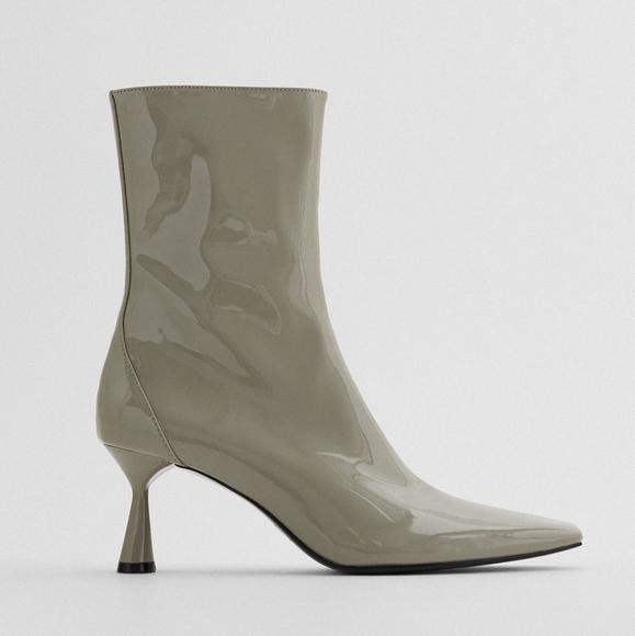 Zara Shoes - Zara Gray Patent Leather Booties, Size